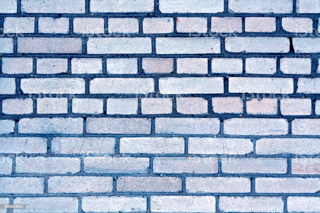 Blue color grungy brick wall pattern. stock photo