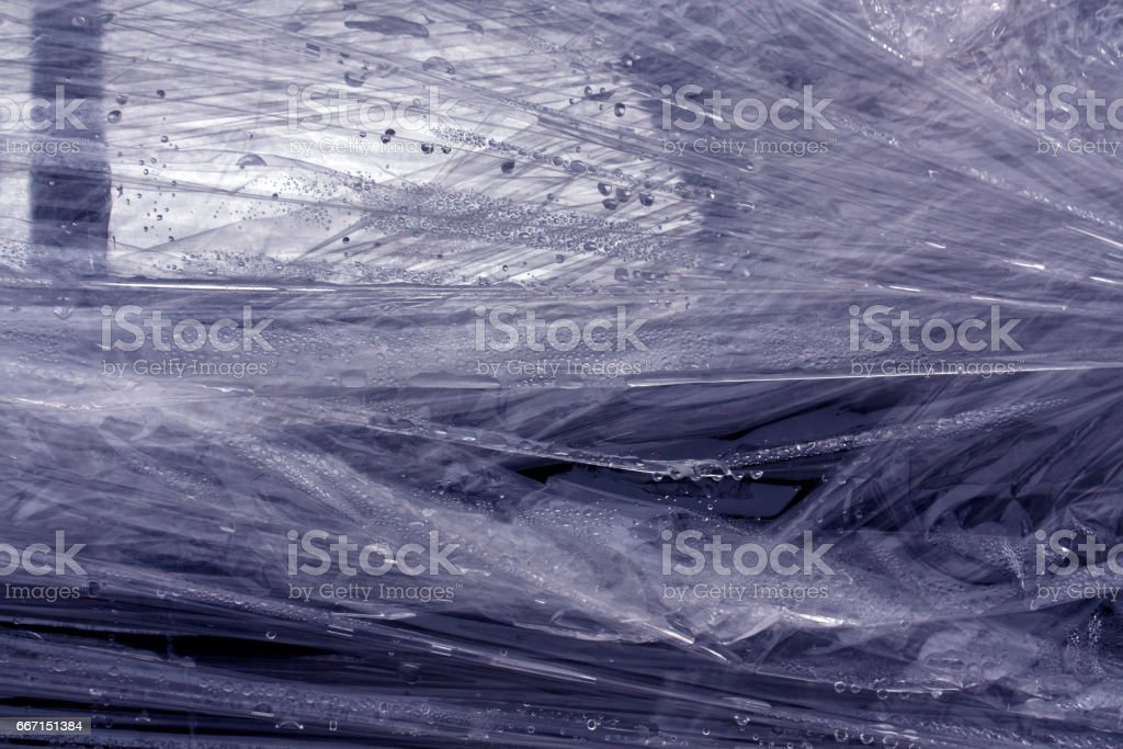 Blue color plastic wrap surface. stock photo