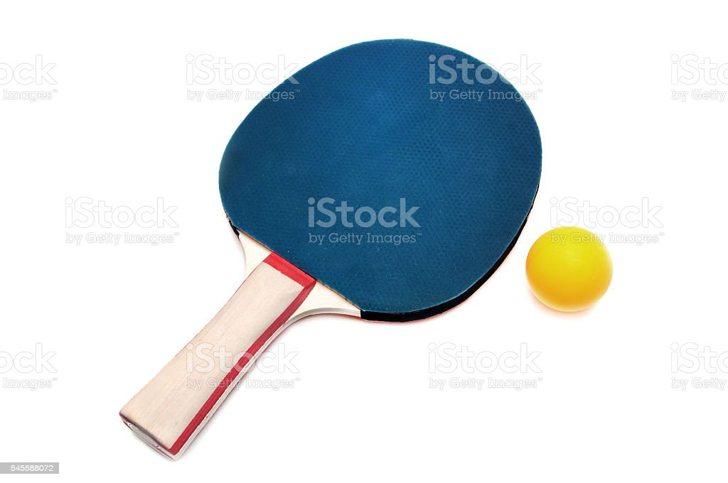 blue color table tennis racket or ping-pong racket stock photo