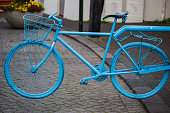 Blue colored bike at a street