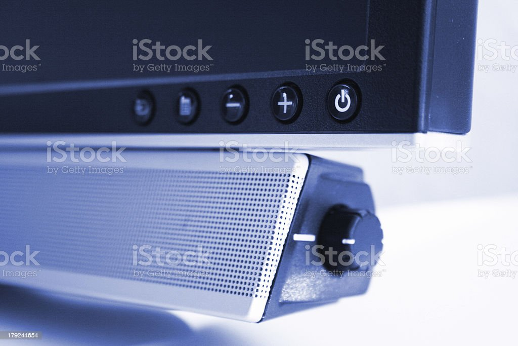 Blue colored computer volume knob royalty-free stock photo