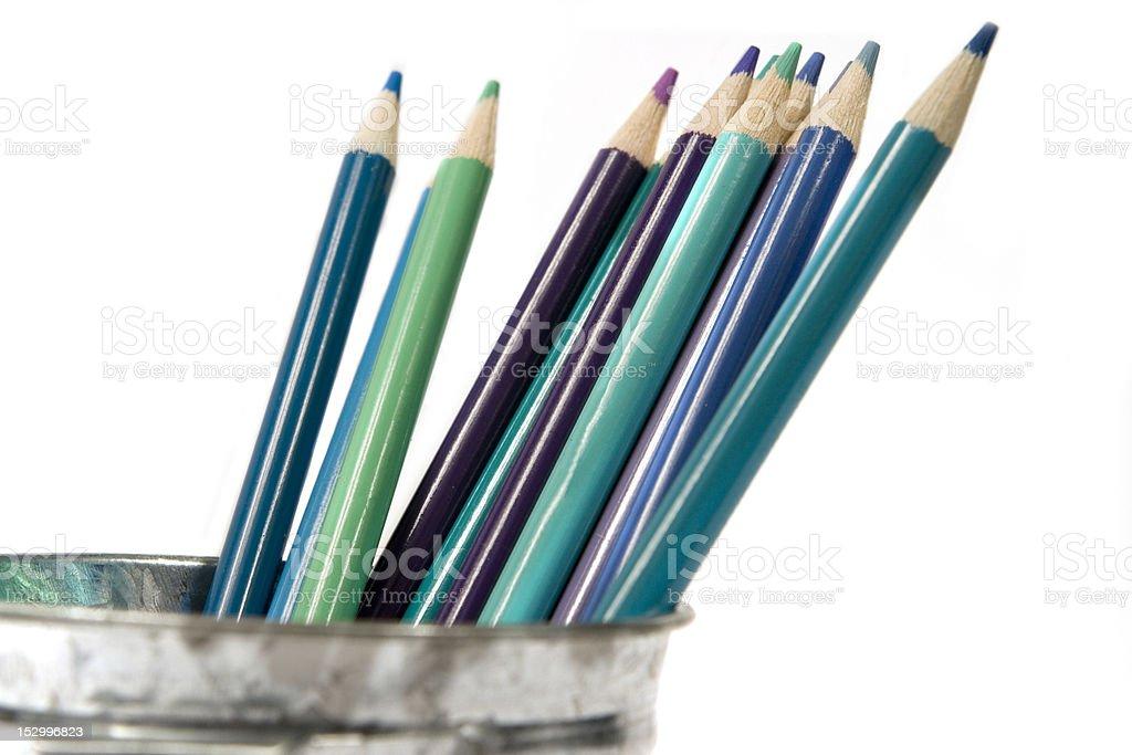 Blue Colored Pencils stock photo