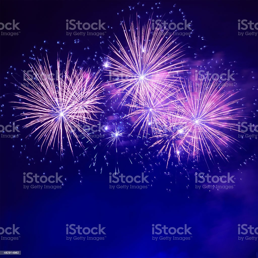 Blue colorful fireworks stock photo
