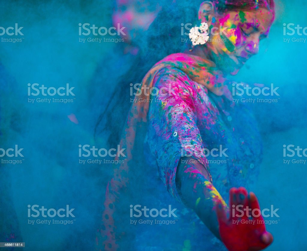 Blue colors during Holi in India stock photo