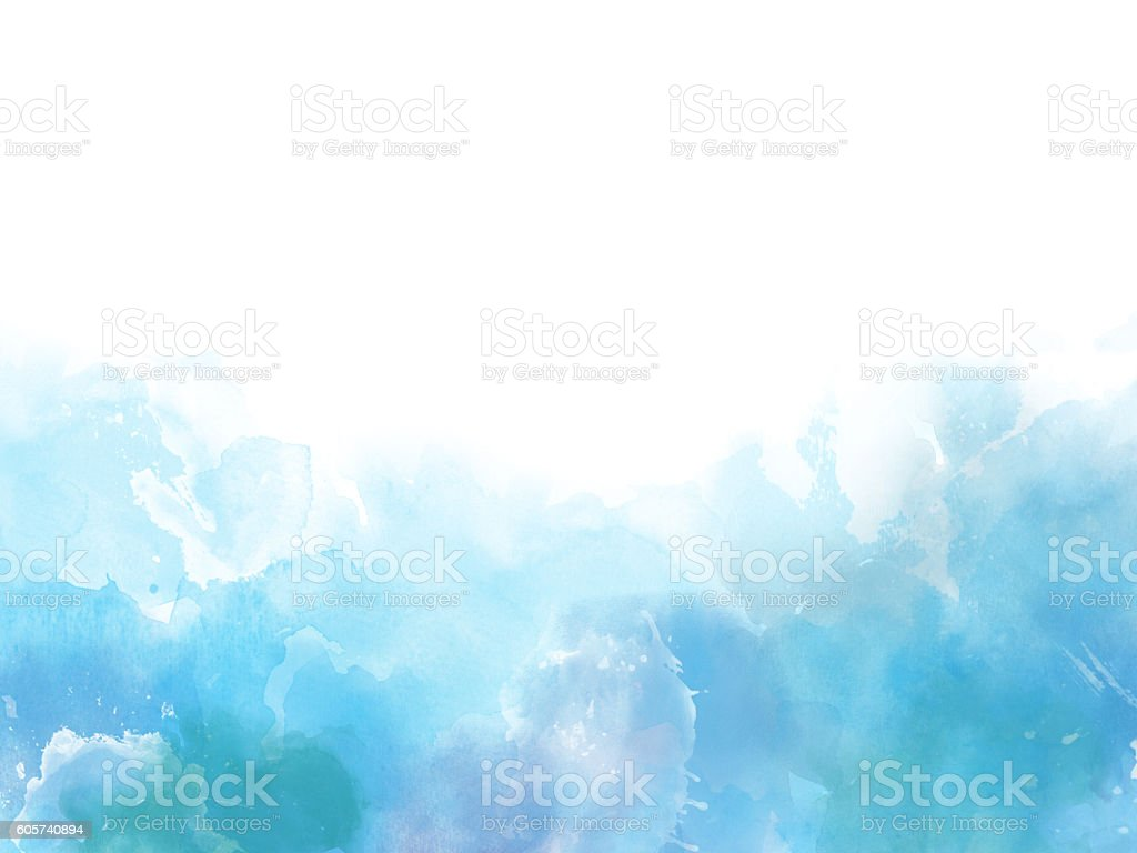 Blue colors Watercolor art border background stock photo