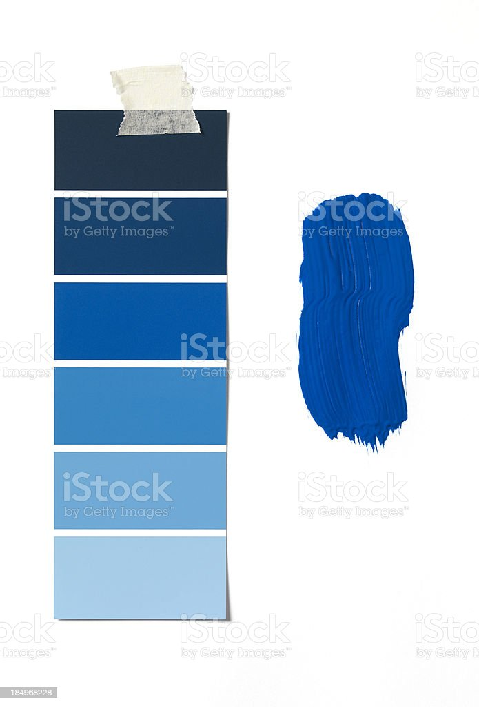 Blue colour swatch and paint stock photo
