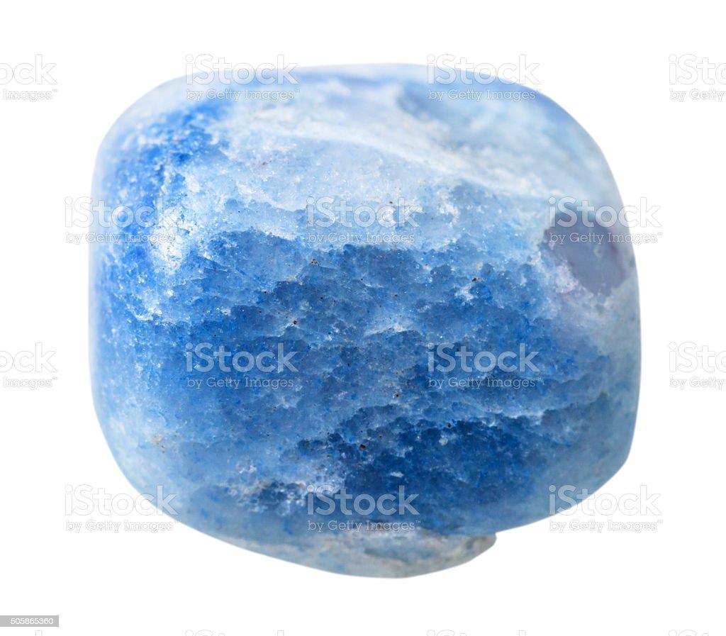 blue coloured agate gemstone isolated stock photo