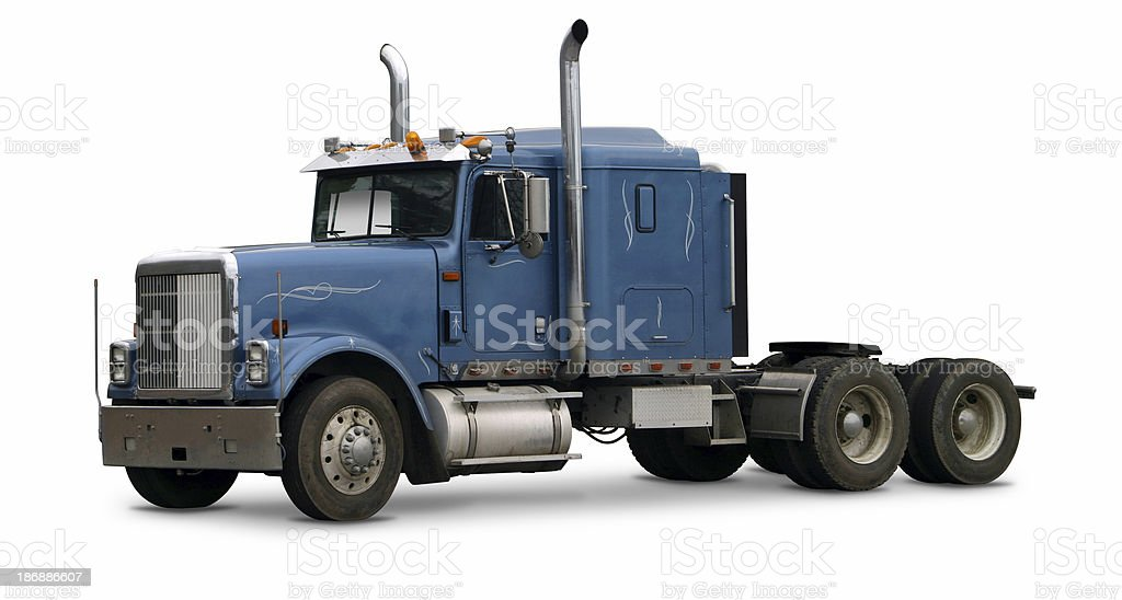 Blue commercial truck stock photo