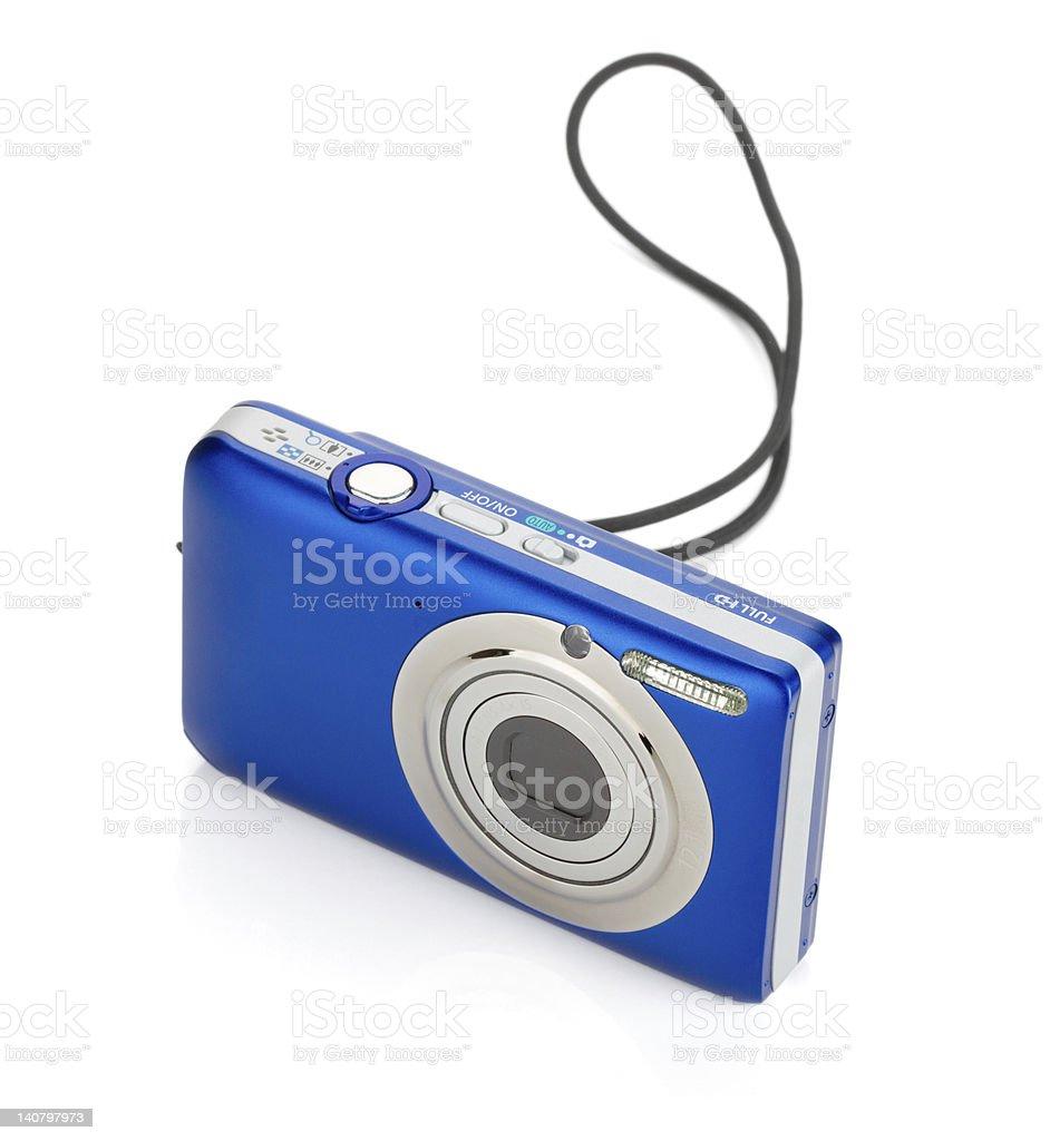 Blue compact camera royalty-free stock photo