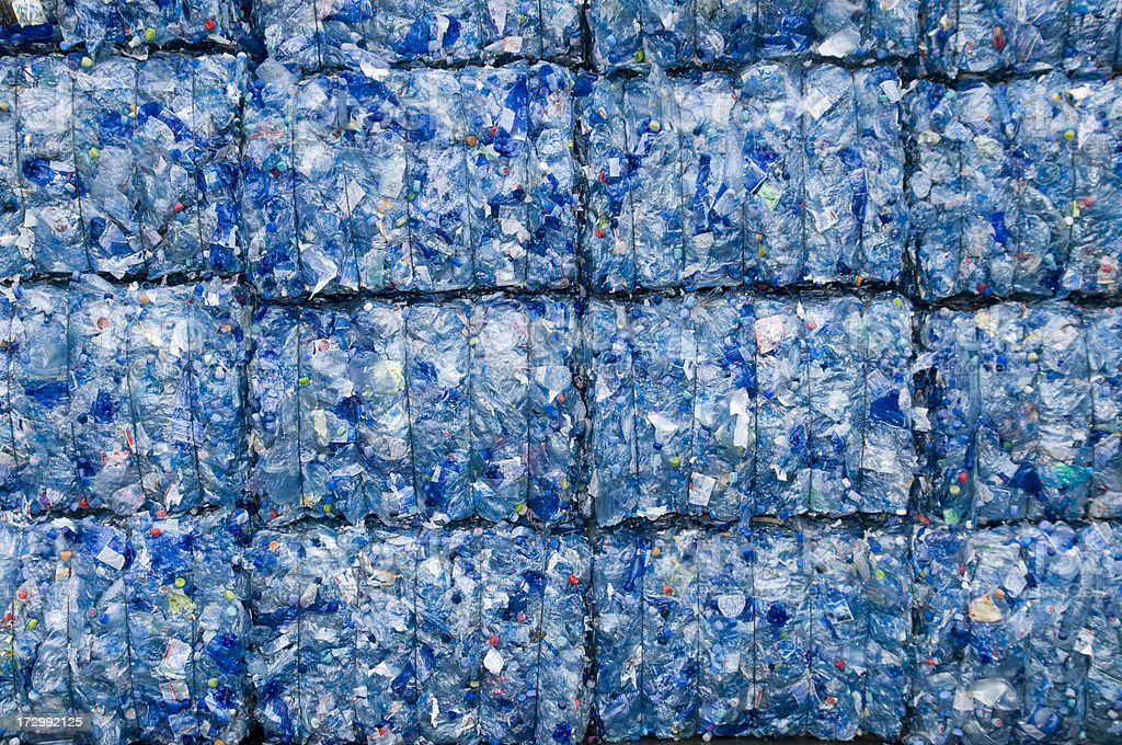 Blue, compact squares of trash stock photo