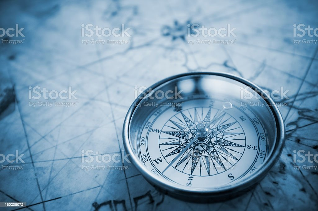 Blue compass background stock photo