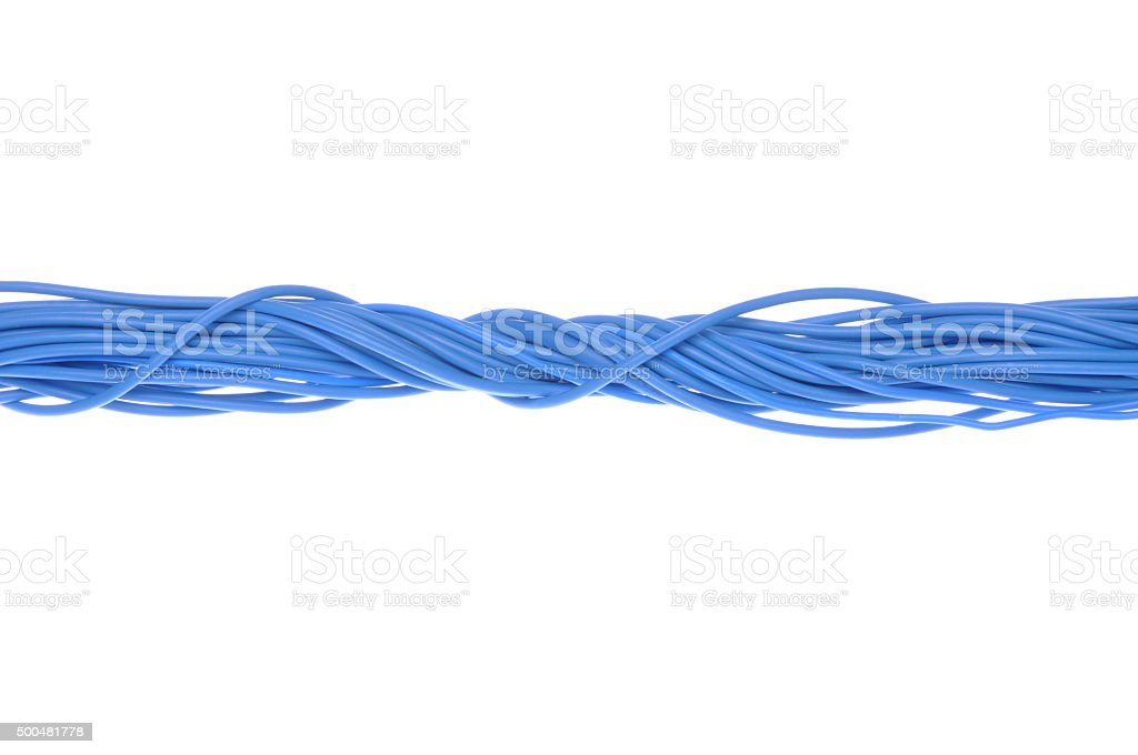 Blue computer cables stock photo