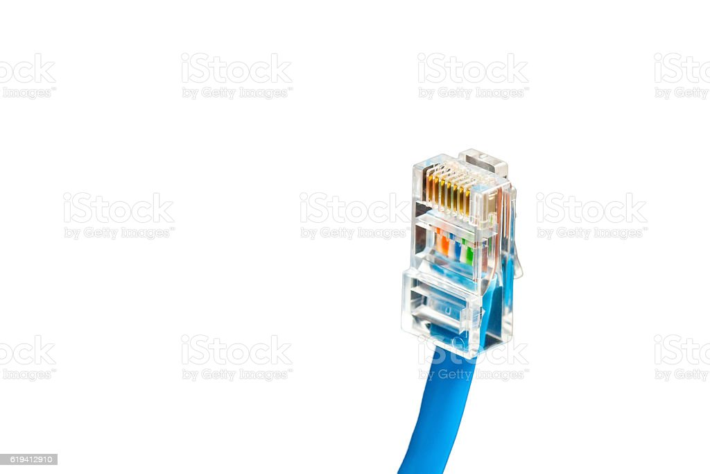 Blue computer ethernet cable isolated on white background, close-up stock photo