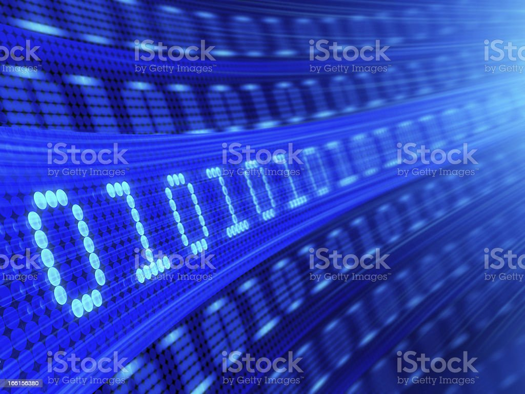 Blue computer screen with several lines of binary code stock photo