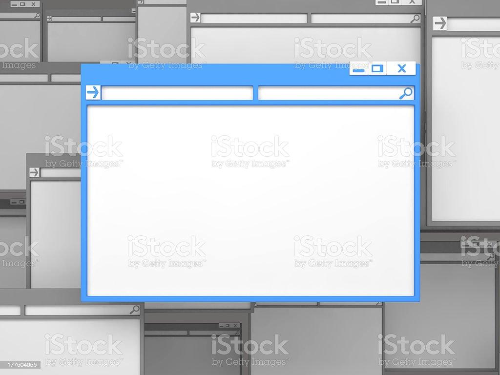 Blue Computer window. stock photo