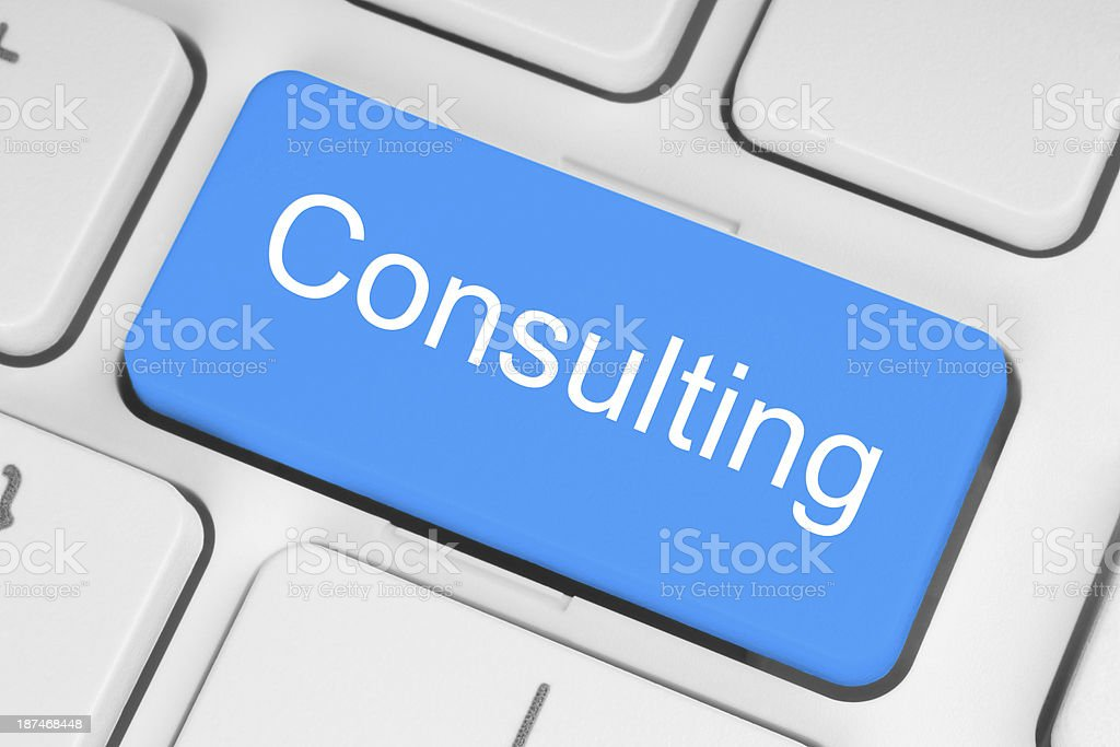 Blue consulting button stock photo