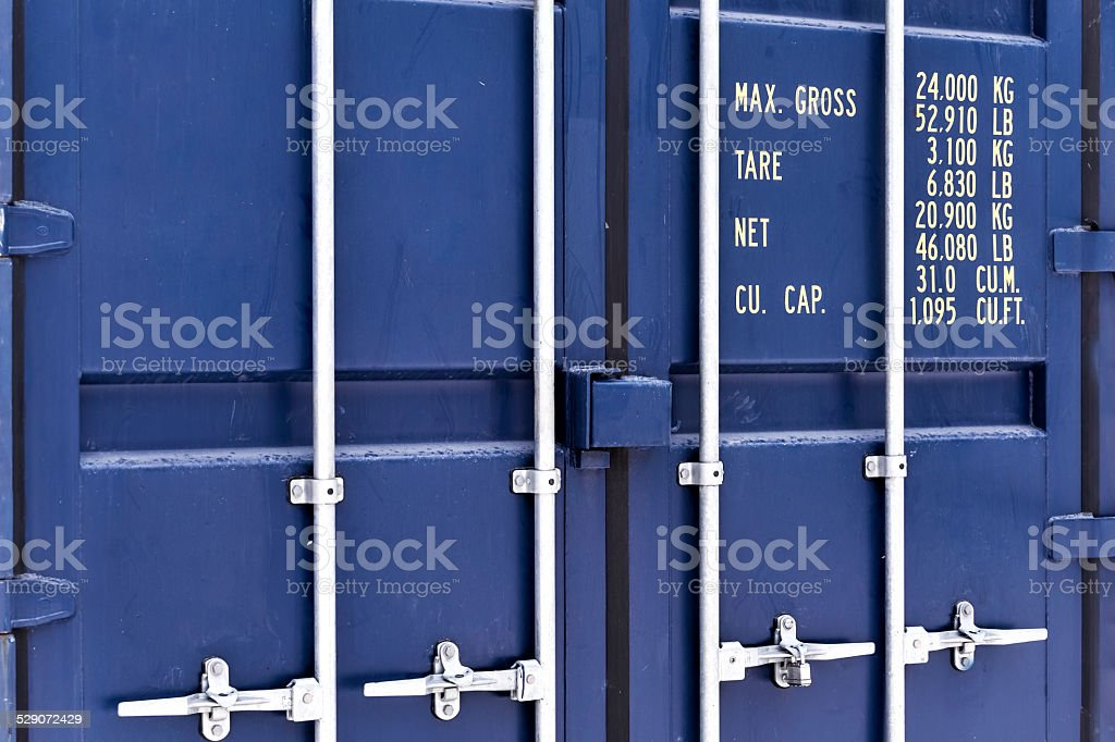 Blue container stock photo
