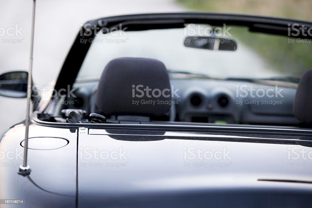 blue convertible rear view stock photo