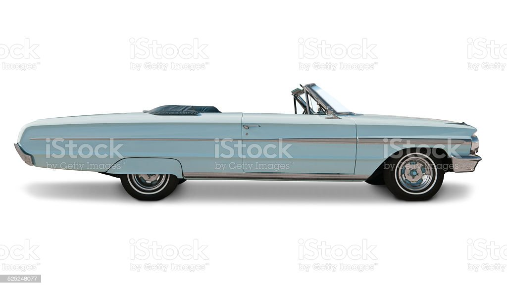 Blue Convertible Side View stock photo