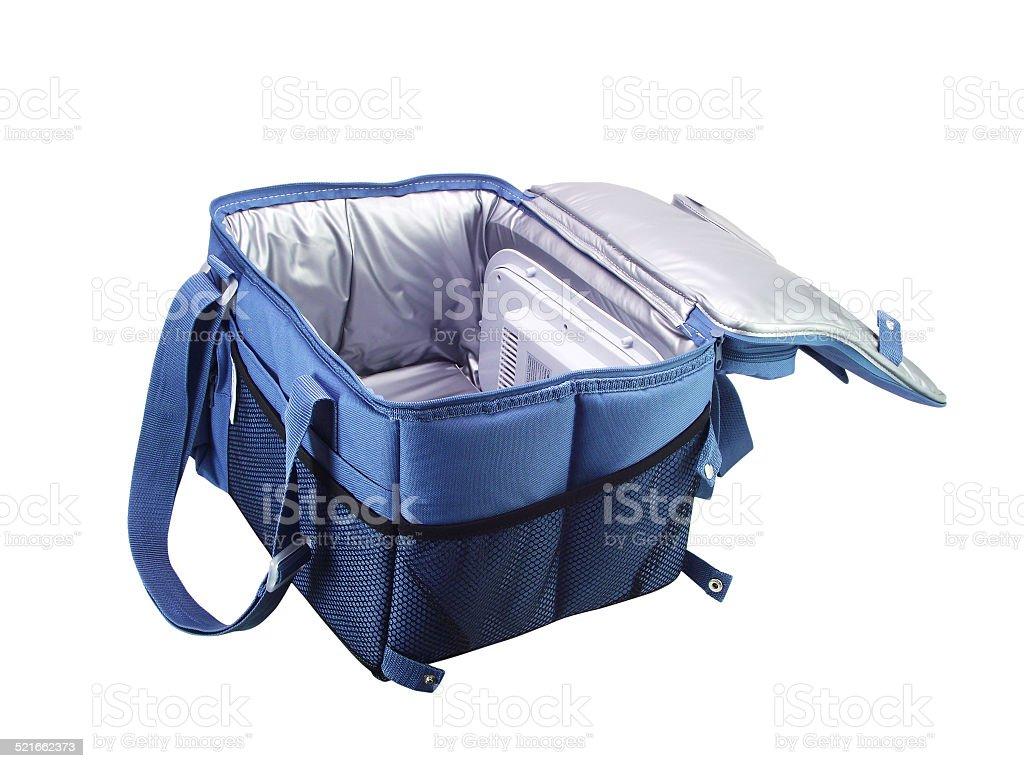 Blue  cooler bag stock photo