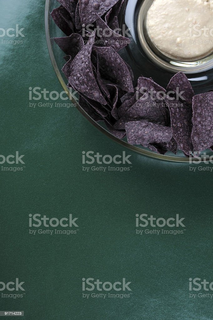 Blue corn chips and dip royalty-free stock photo