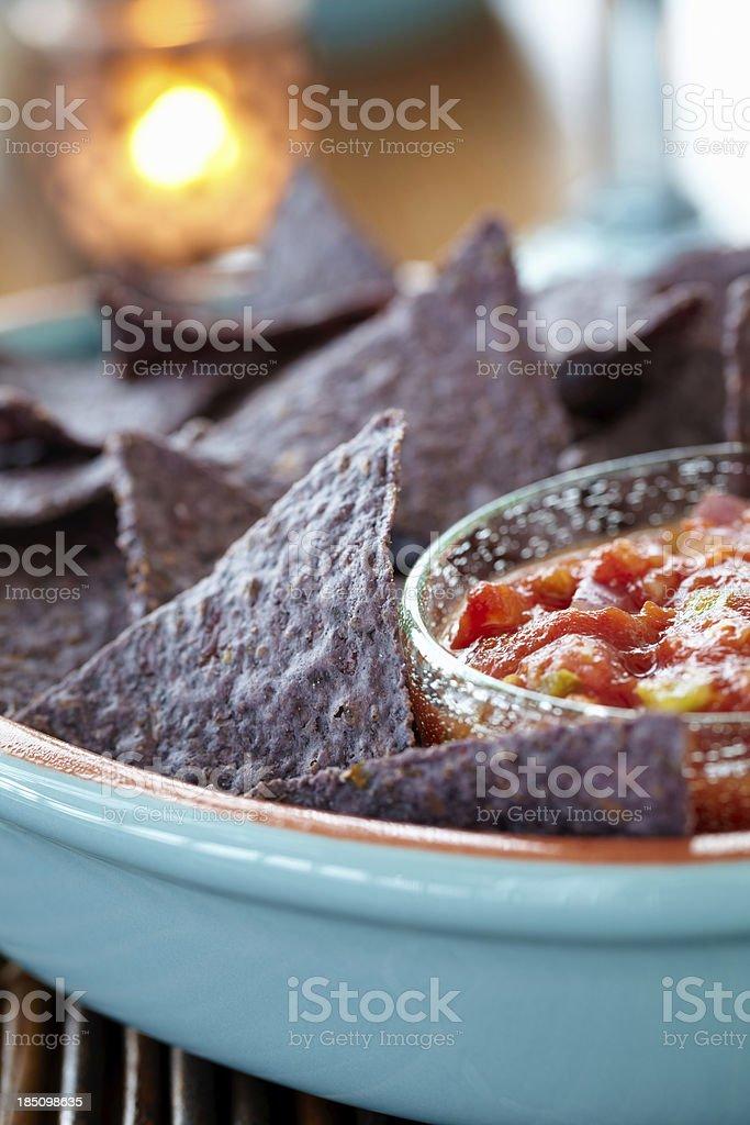 Blue Corn chips stock photo