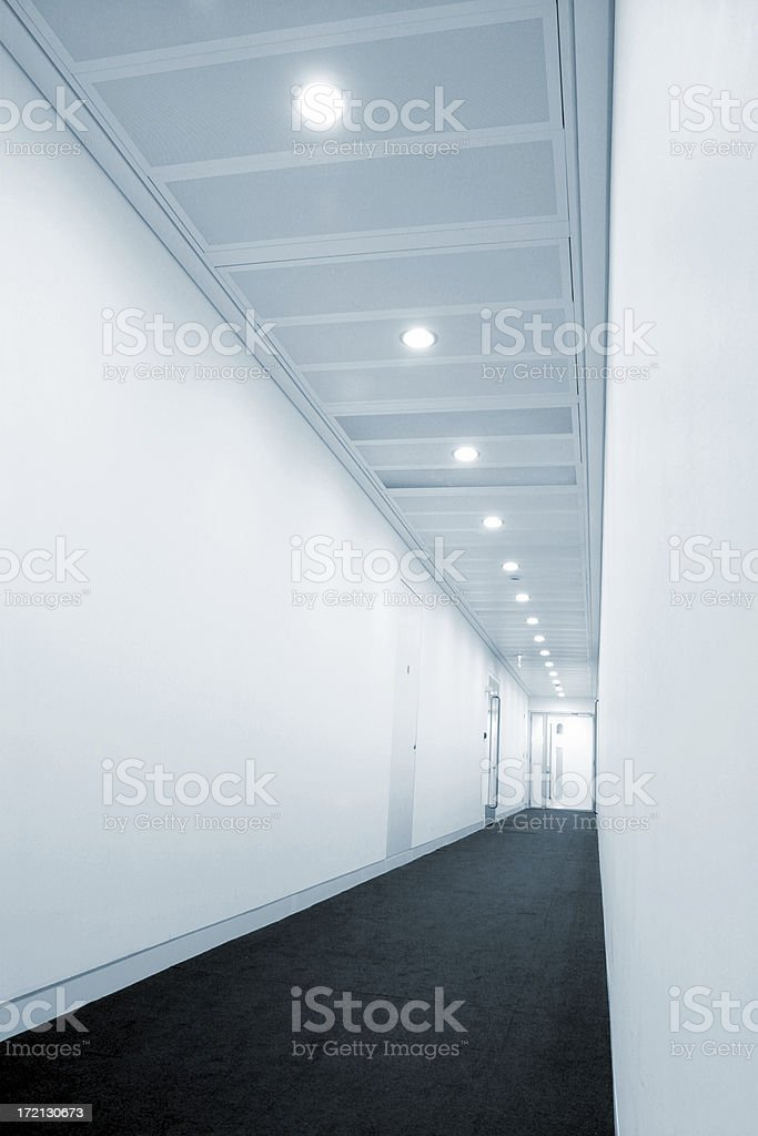 Blue corridor stock photo