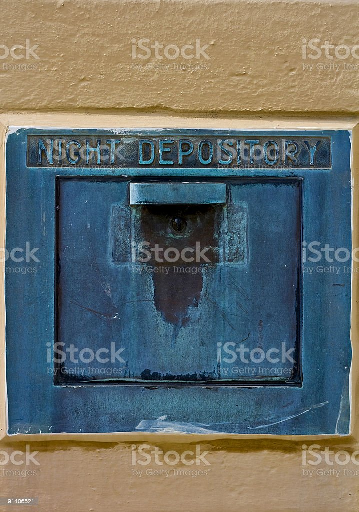 Blue Corroded Looking Night Depository Drop Box stock photo