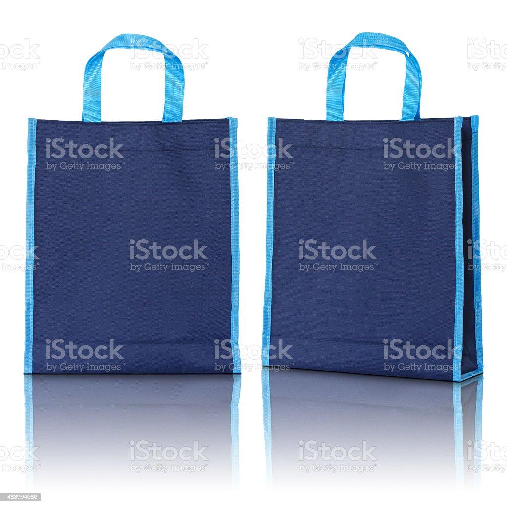 blue cotton bag stock photo