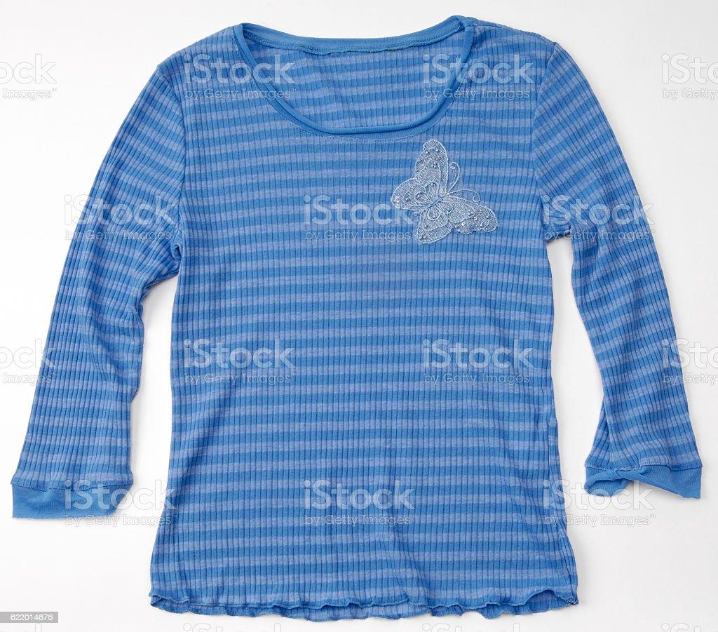 Shirt design blue cotton - Blue Cotton Blouse Shirt With Floral Design Royalty Free Stock Photo