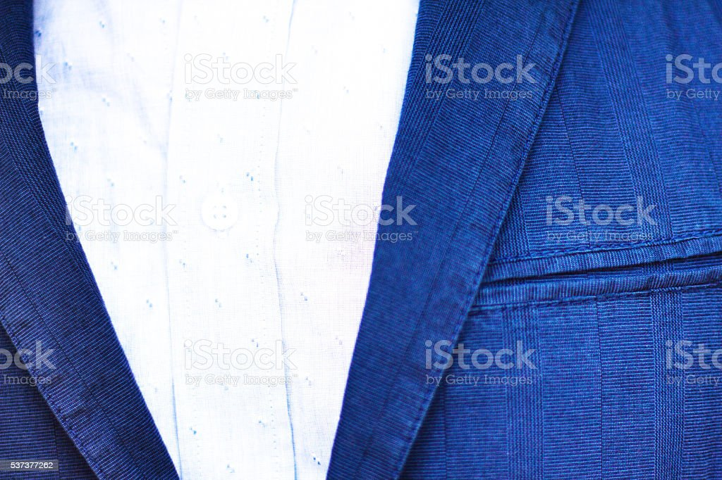 Blue Cotton Men's Sports Jacket and Breast Pocket (Close-Up Detail) stock photo