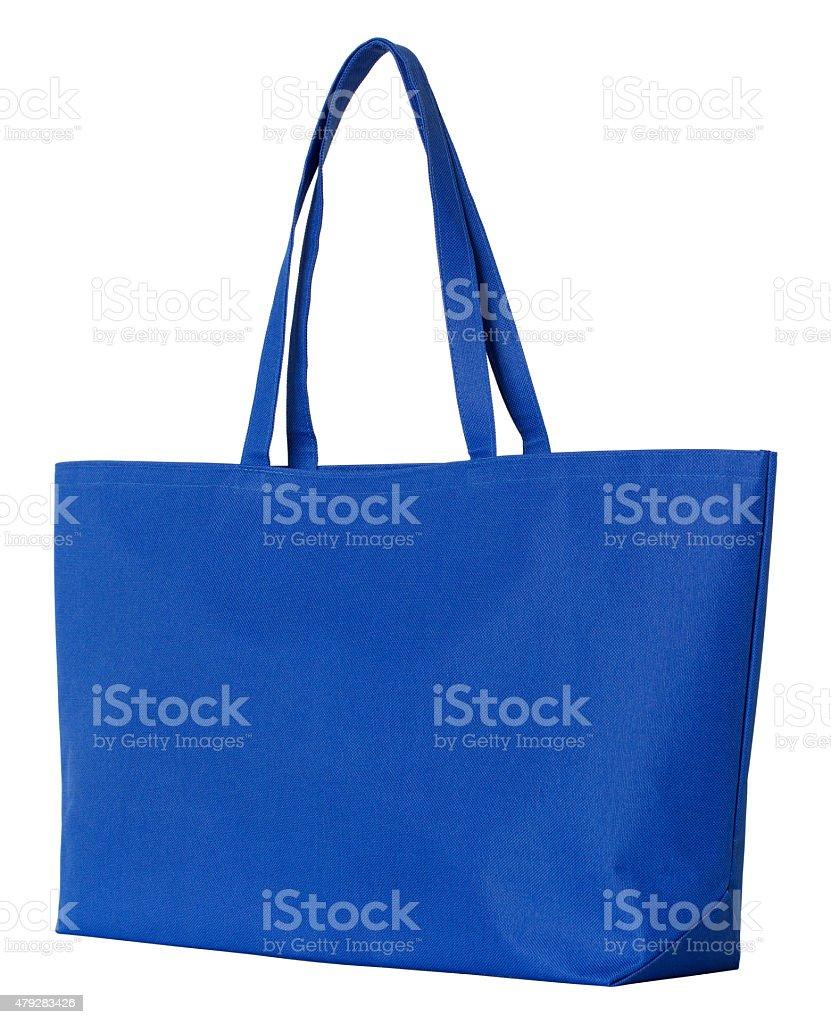blue cotton shopping bag stock photo