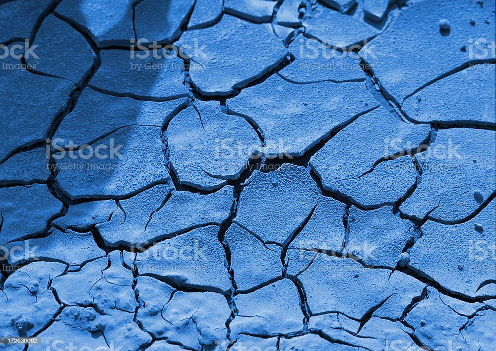 Blue Cracked Dirt royalty-free stock photo