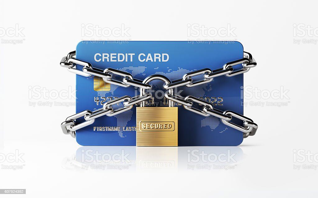 Blue Credit Card Chained with Padlock stock photo