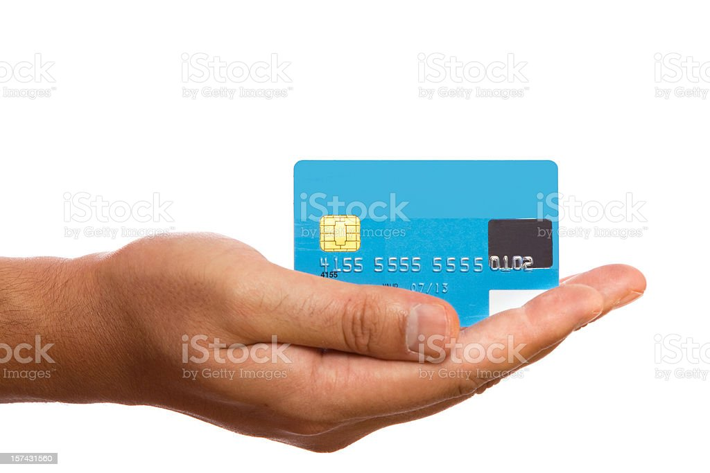 Blue credit card in man's hand stock photo