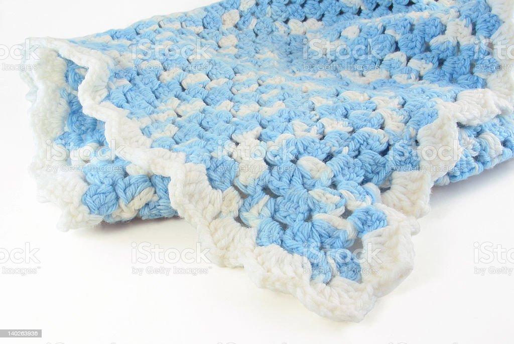 Blue Crochet Baby Blanket stock photo