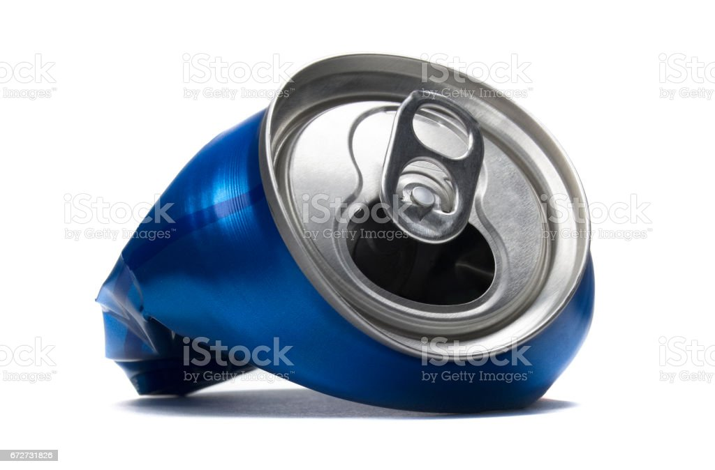 Blue crushed soda can stock photo