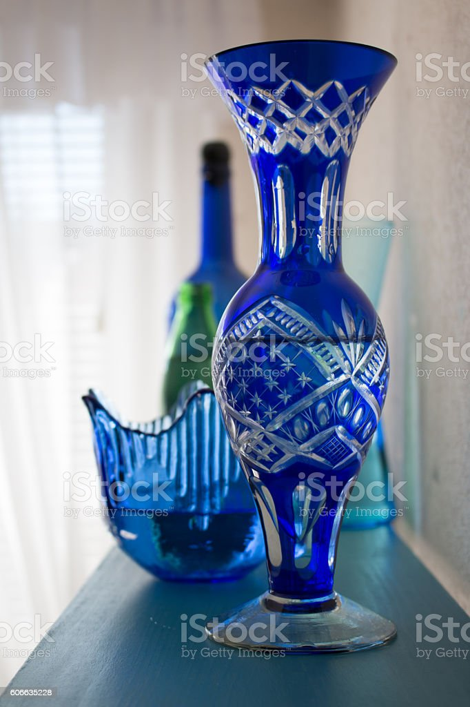 Blue crystal vases and bowl stock photo