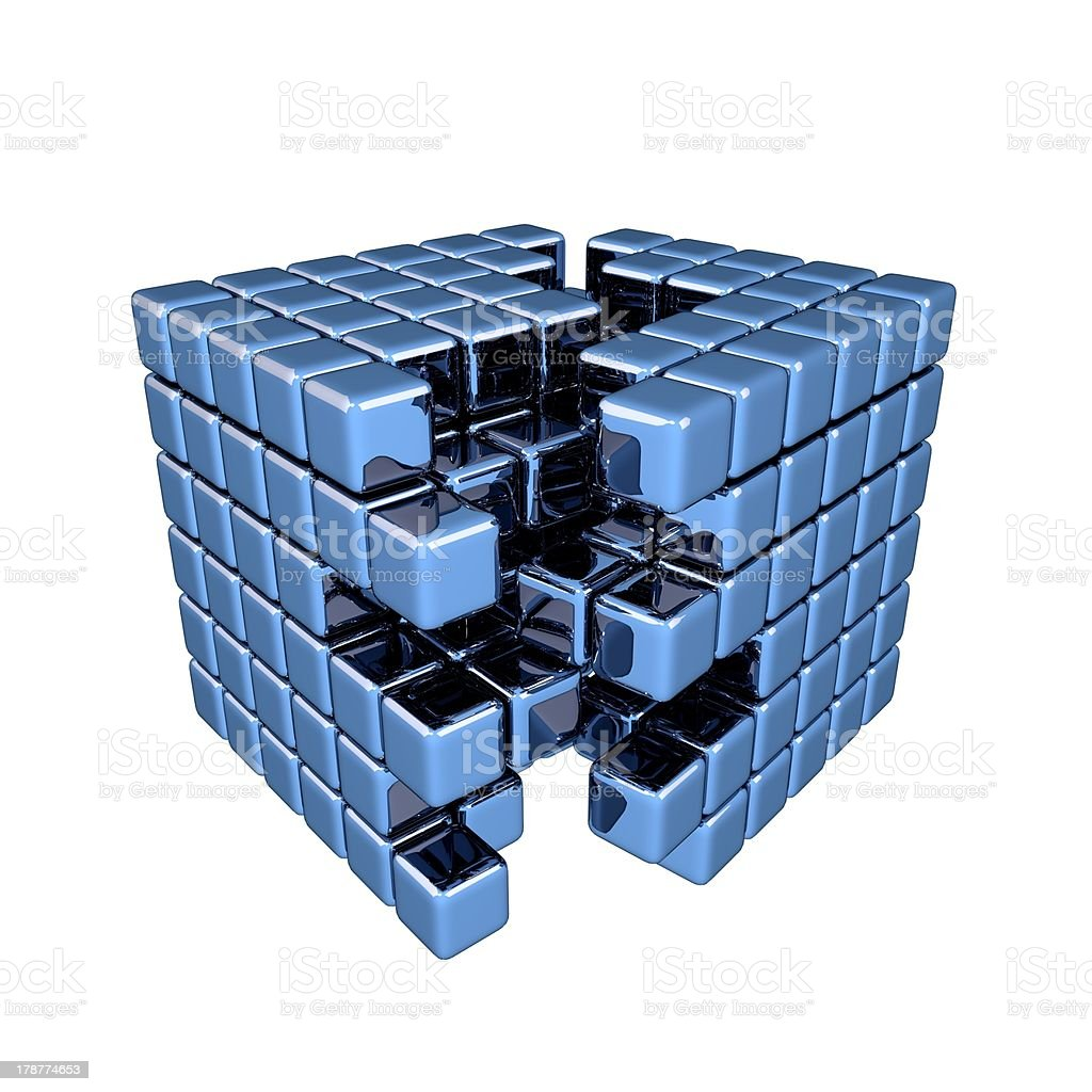 3D Blue Cube - Separation royalty-free stock photo