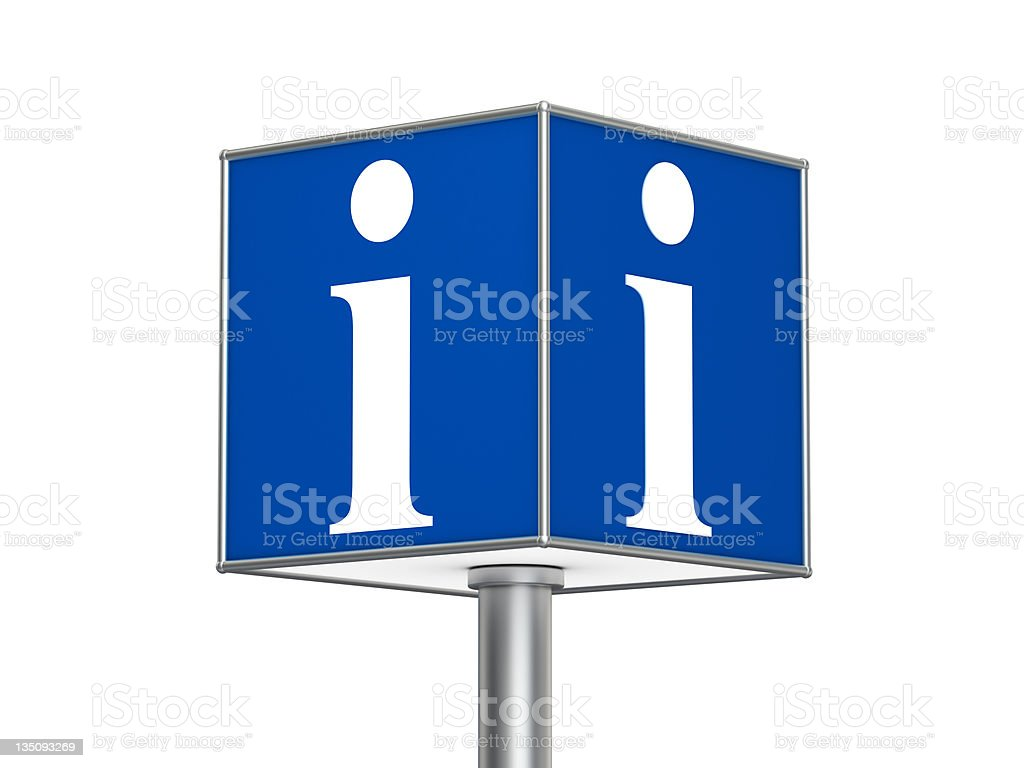 Blue cube with information symbol on a steel pole stock photo