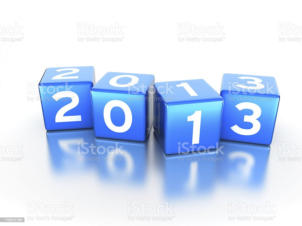 Blue cubes 2013 royalty-free stock photo