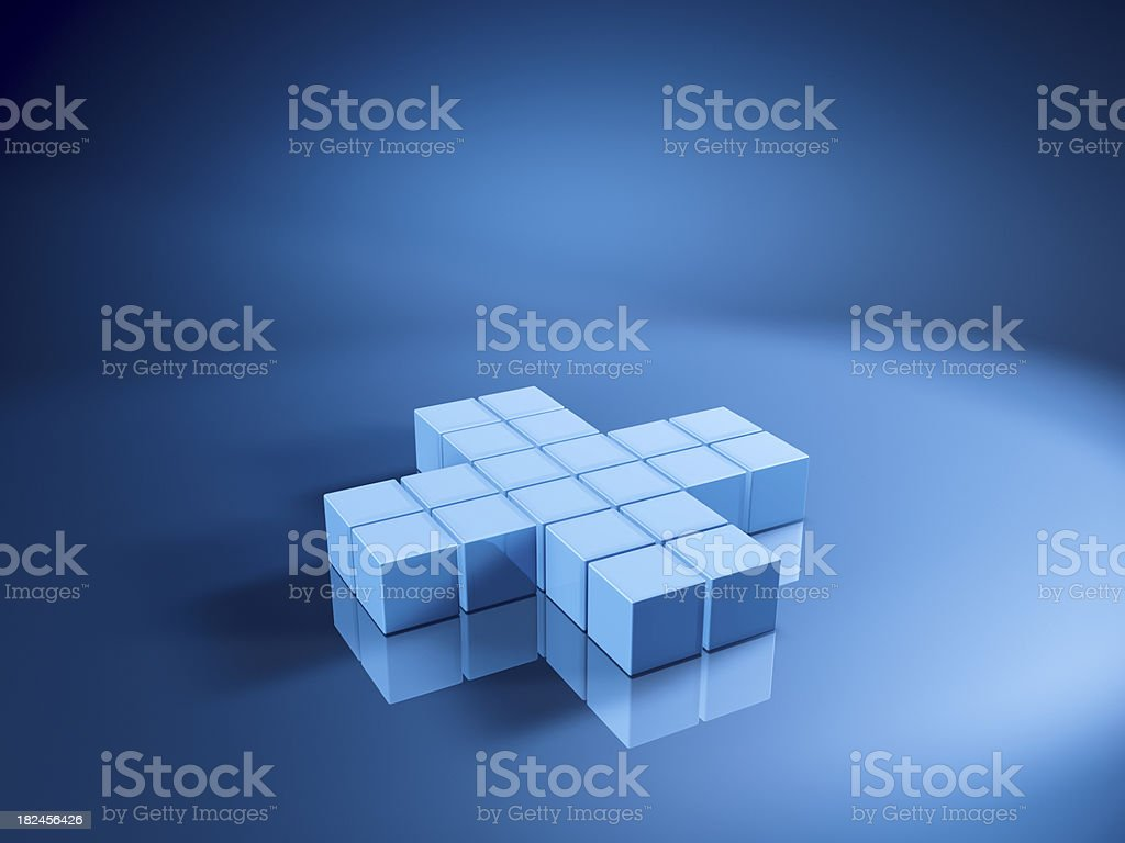 Blue Cubes Plus Sign royalty-free stock photo