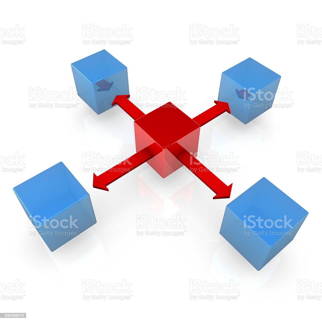 Blue Cubes With Red Cube stock photo