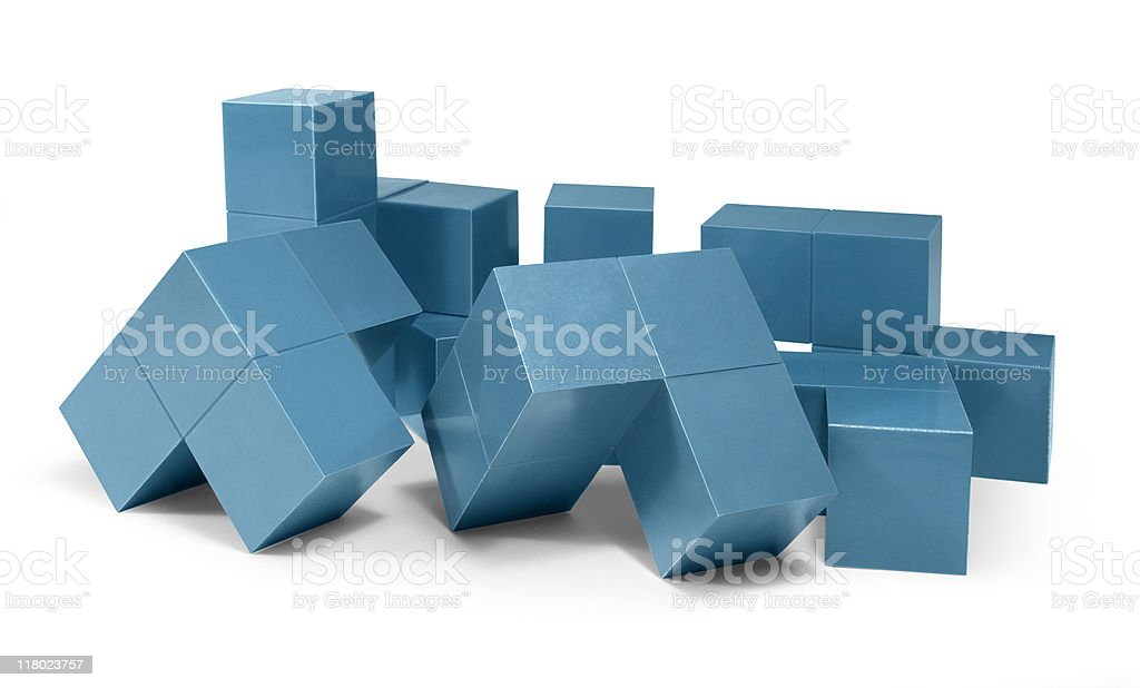 blue cubic fragments royalty-free stock photo