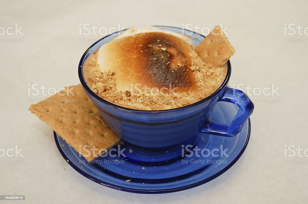 Blue Cup Hot Cocoa with Graham Crackers royalty-free stock photo
