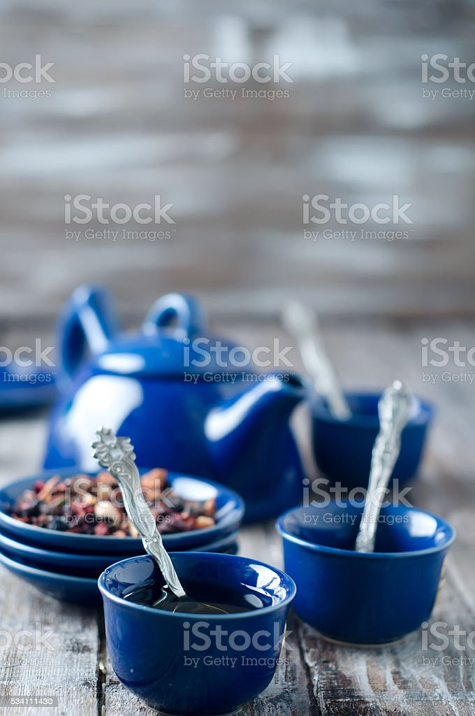 Blue cup of tea stock photo