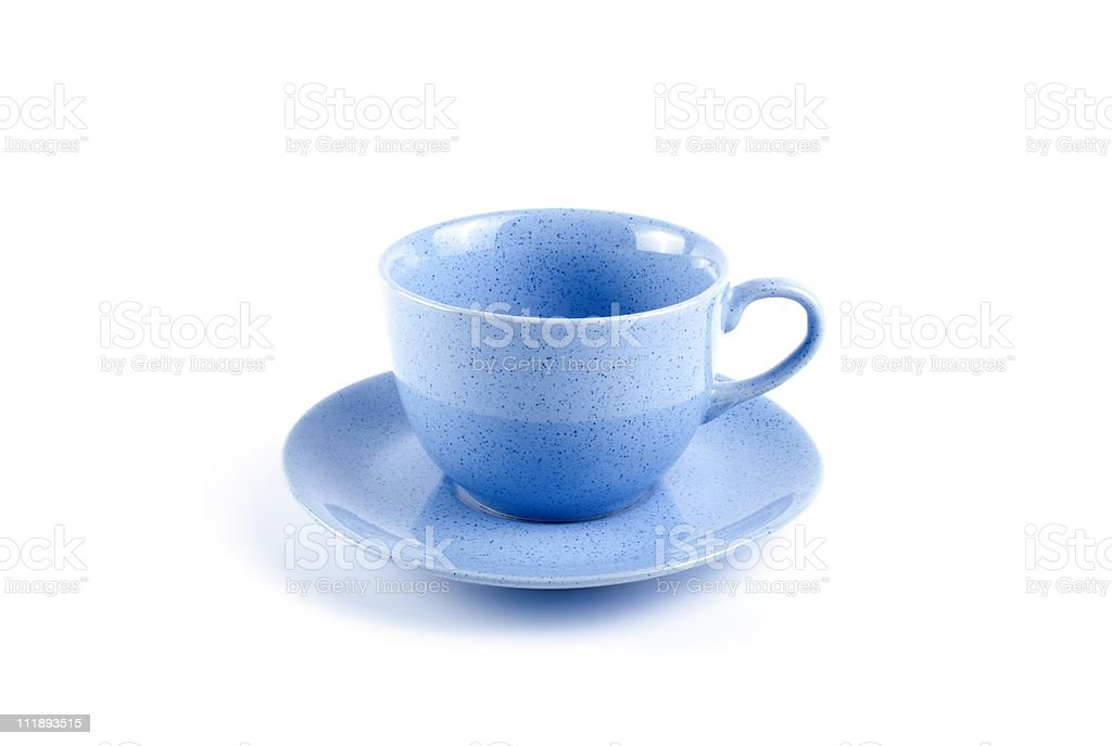 Blue cup with saucer stock photo