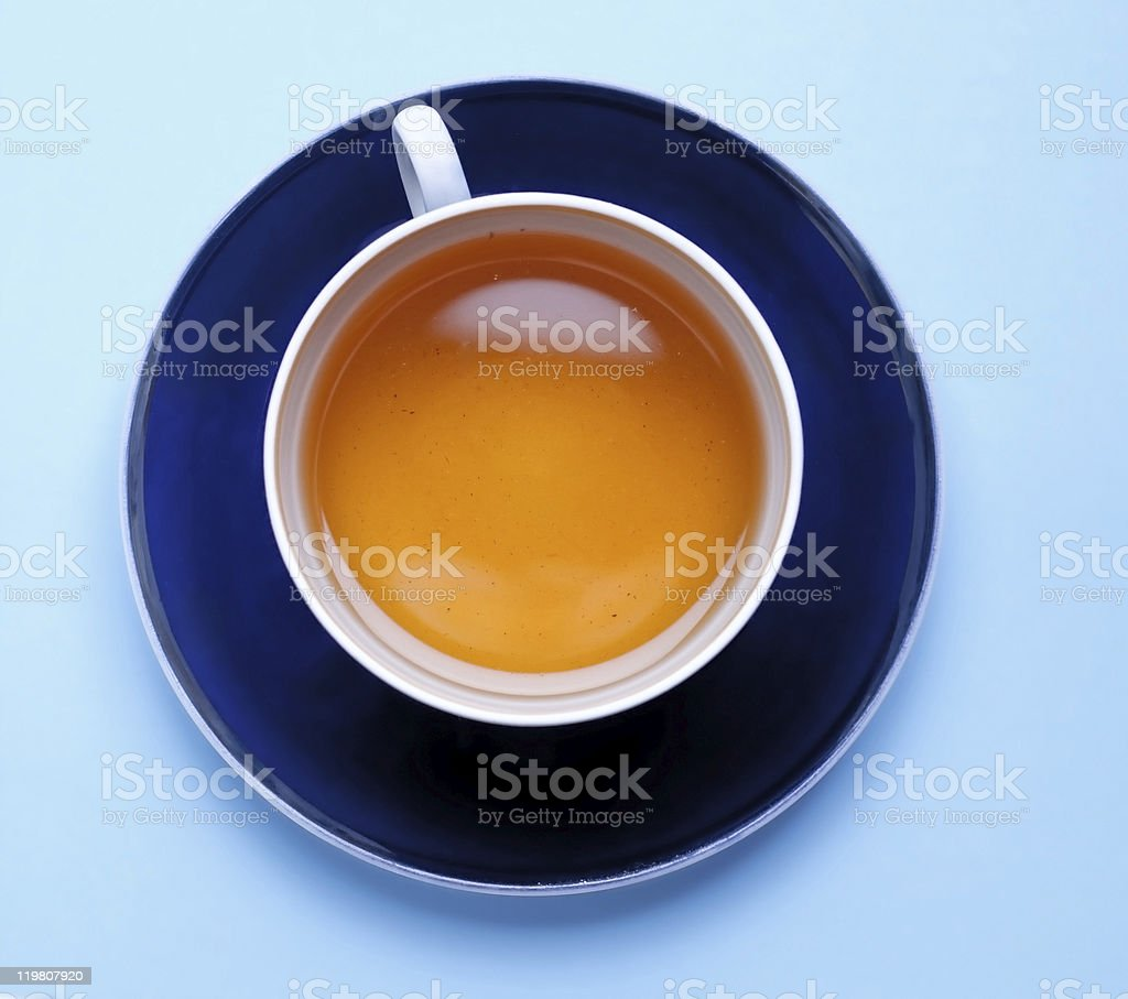Azul taza de té foto de stock libre de derechos