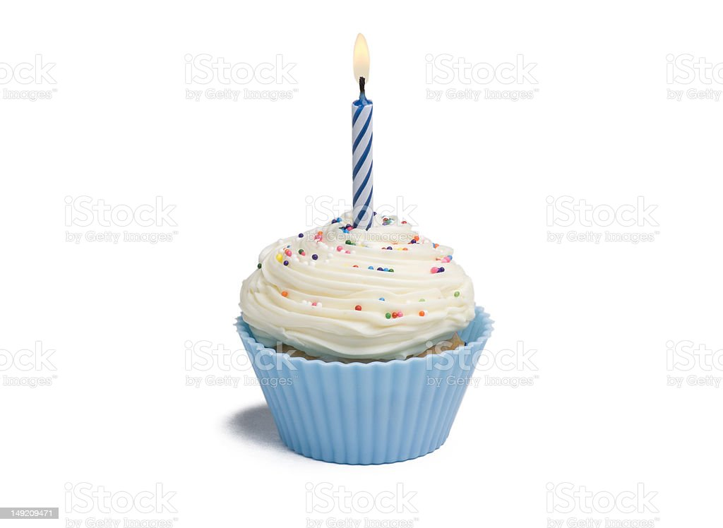 Blue Cupcake and Candle royalty-free stock photo