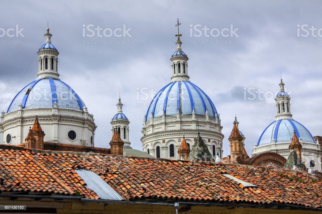 Blue cupolas of different heights, Cathedral de la Inmaculada Conception stock photo